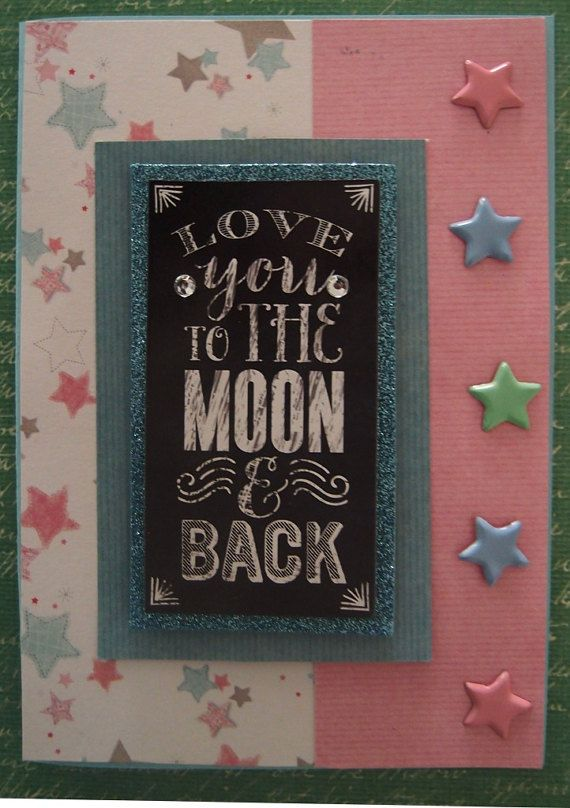 3D Greeting Card Love you to the Moon and Back by PaperHydrangea