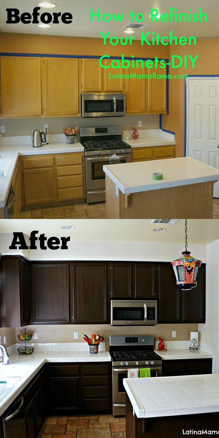 How to refinish your kitchen cabinets. So simple and it looks amazing