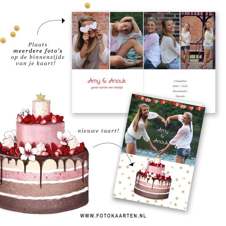Zelf een leuke kaart maken voor je uitnodigingen kan bij Fotokaarten.nl Tip: Zet meerdere foto's aan de binnenzijde van je kaartje. We hebben een nieuwe taart gemaakt!