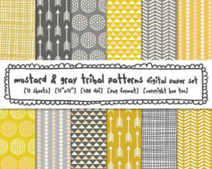 Tribal patronen digitale achtergronden, mosterd gele en grijze digitale papier, driehoeken pijlen stippen gearceerd, instant download - 425