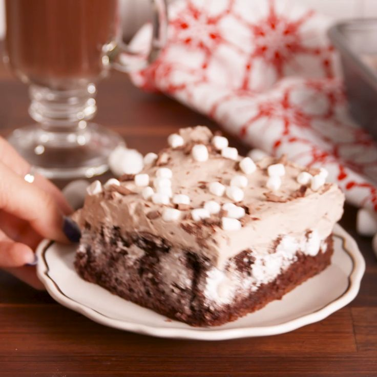 Hot cocoa poke cake