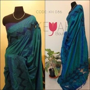 Beautiful Cutwork on double shaded pure hand woven silk .For details, please mail to keyahboutique@gmail.com