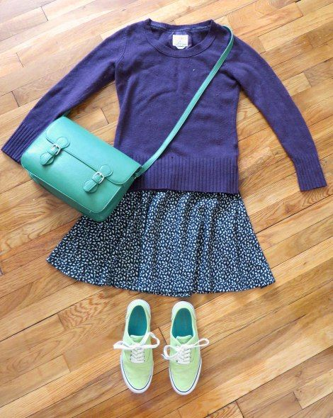 Outfit inspired by Unbreakable Kimmy Schmidt fashion - purple sweater, print skirt, green shows and purse
