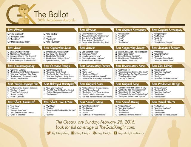 Oscars 2016: Download our printable ballot for the big night, your party or office pool.   #oscars #OscarsParty #academyawards