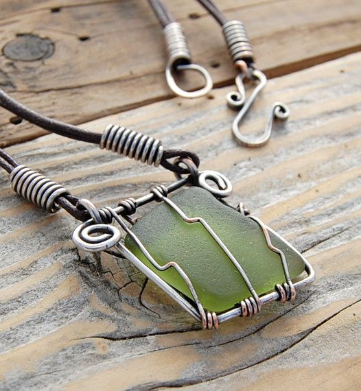 Olive and Earth Sea Glass Pendant. Wire wrapped by LilacMillie