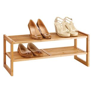 2-Tier Bamboo Stackable Shoe Shelf $29.99 at the container store. this would be good if it was a shelf or stackable