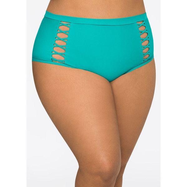 Ashley Stewart Criss Cross High Waist Bikini Bottom ($9.98) ❤ liked on Polyvore featuring swimwear, bikinis, bikini bottoms, plus size bikini tops, underwire bra, ruched high waisted bikini bottom, plus size swim tops and high waisted cut out bikini