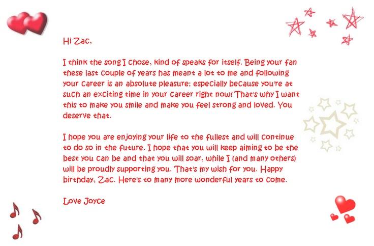 A birthday note to ZacEfron from Joyce. HappyBirthdayZac