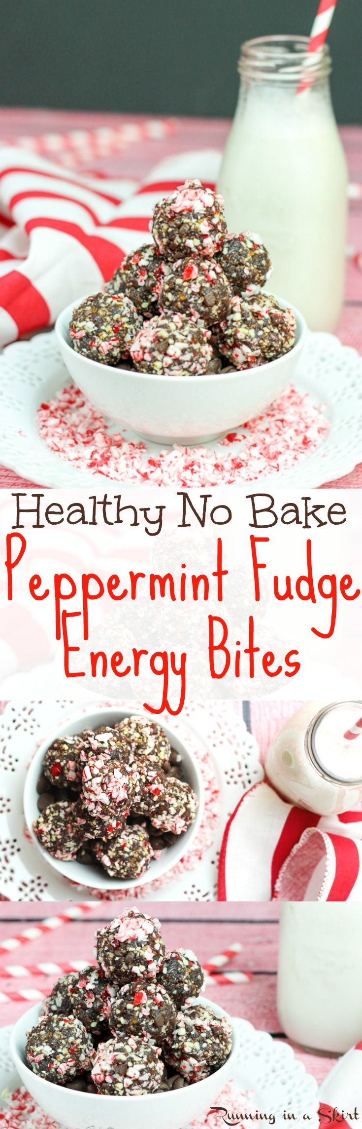 Healthy Peppermint Fudge No Bake Energy Bites recipe. Easy, clean eating chocolate holiday recipe with dates! Raw natural sweetness without added sugar. #Christmas #snacks