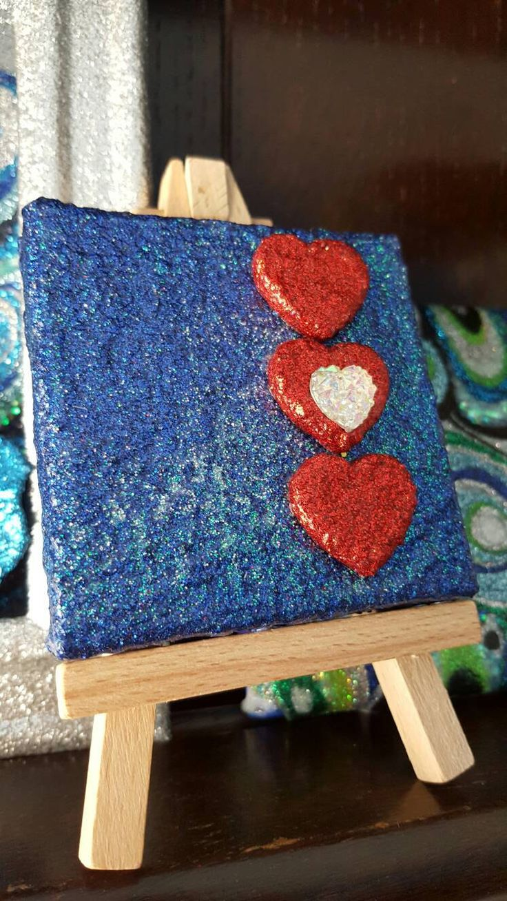 Royal Blue Glitter Canvas Art Original Abstract Artwork no. 5, mini canvas, red heart by sharonperryart on Etsy https://www.etsy.com/uk/listing/271360571/royal-blue-glitter-canvas-art-original