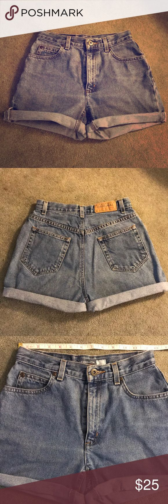 """Vintage cut off shorts These are great """"mom"""" shorts! Vintage wash and fit: high rise (app. 10""""), sits at natural waist (app. 25"""") and loose through the hip (app. 35""""). Inseam is 3.5"""" when rolled, about 5"""" unrolled. I ordered these online and they just don't work for me. These are a vintage piece so there is fading, loose threads, fraying, etc. that is part of the 90's look. Size labeled as 4P, but fit like a 2 or 25. Last pic shown for fit/style. Shorts"""