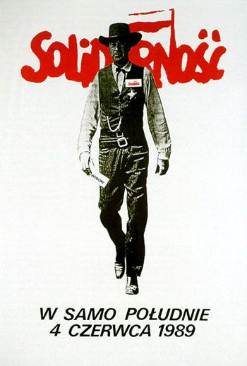 """4 June 1989 - First free election in Poland after the collapse of communism. Famous poster with Gary Cooper and the quote """"High Noon"""" (the date of election). It was made for """"Solidarity"""" (the freedom movement) encouraged people to vote. I remember this day, I was a small girl and I went with mom to watch her vote. She even let me draw the cross in the right place, lol :D"""
