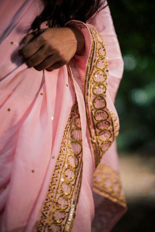 Powder pink pure crepe saree featuring gold gota and sequin work. Saree by Nafisa Rachel William. To order email me at nafisarachelwilliam@gmail.com