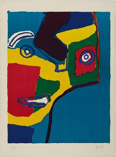 KAREL APPEL HOLLANDSK 1927 - 2006  Ansikt, 1969 Fargelitografi, E.A. 64x50 cm Signert og datert nede til høyre: Appel 69