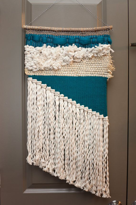 teal asymmetrical / tapestry wall hanging / weaving by habitstudio
