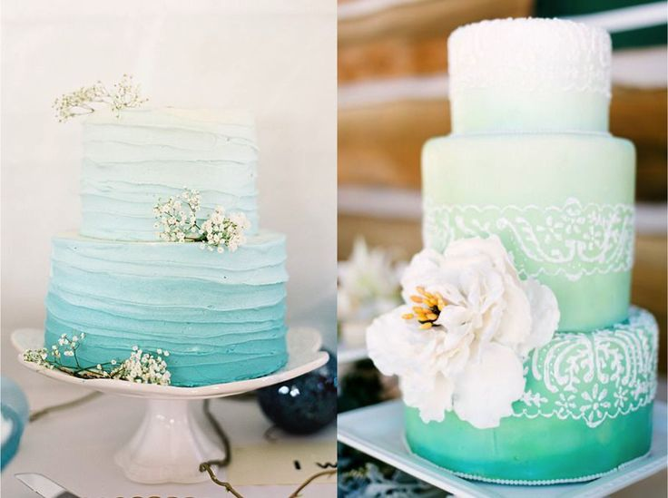 WEDDING CAKE: TORTE NUZIALI EFFETTO ACQUARELLO CON FIORI BIANCHI By www.SomethingTiffanyBlue.com #wedding #weddingcake