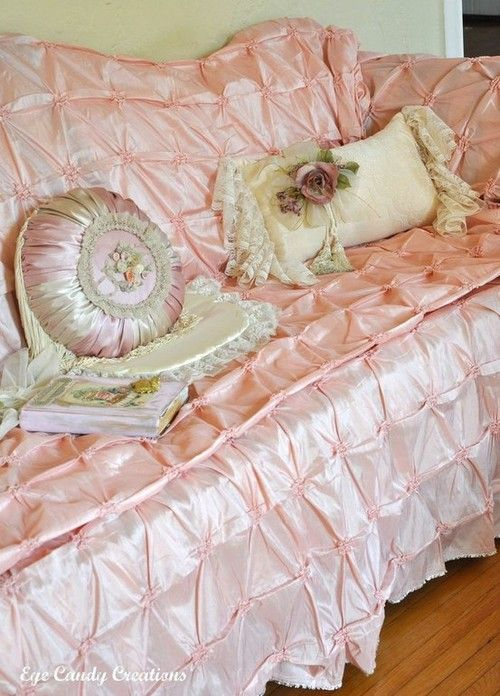 Vintage bedspread as sofa cover.  pure frou frou! i cant even look at this without thinking  I will get it dirty! i loves it!!!
