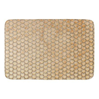 #Gold Glitter Marble Mermaid Scales Pattern Bathroom Mat - #gold #glitter #gifts