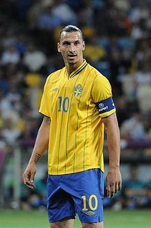 Zlatan Ibrahimovic playing with his national team. In a game against England.