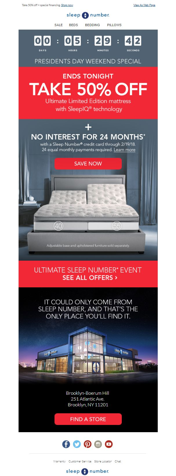 SleepNumber, Email Marketing, Countdown Timers, Personalized Images, Email Examples, Real Time Content, Live Social Feeds, Dynamic Emails