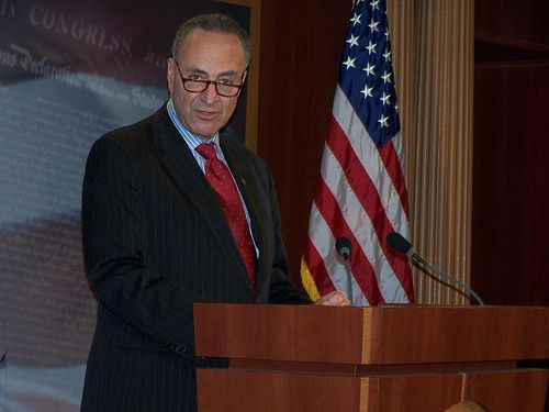 Senate Minority Leader Charles E. Schumer on Tuesday said Democrats will block President Donald Trump's budget proposals on expanding federal immigration forces and starting the border wall project.