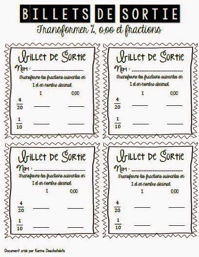 Billets de sortie sur les fractions! - La classe de Karine www.laclassedekarine.blogspot.ca