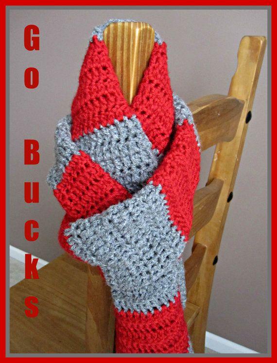 Ohio State Buckeye Scarf by DreamWeaversCrochet on Etsy