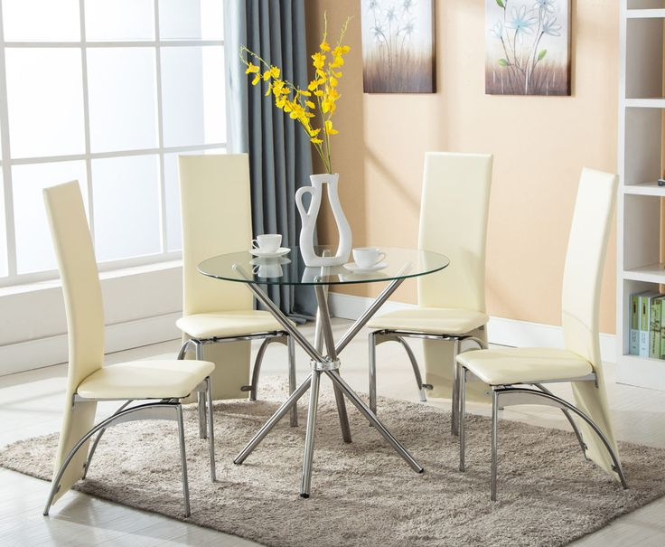 5 piece round glass dining table set 4 chairs kitchen room breakfast furniture