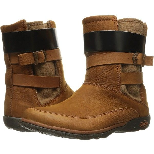 Chaco Hopi (Rust) Women's Pull-on Boots (10.435 RUB) ❤ liked on Polyvore featuring shoes, boots, slip-on shoes, chaco boots, water proof boots, low heel shoes and fleece-lined shoes
