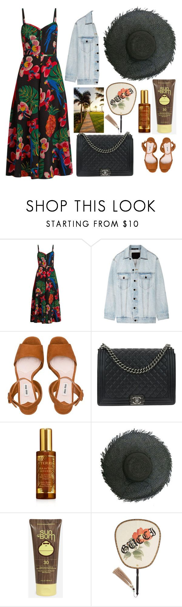 """Mexico"" by sdforthxi ❤ liked on Polyvore featuring Valentino, Alexander Wang, Miu Miu, Chanel, By Terry, Sun Bum and Gucci"