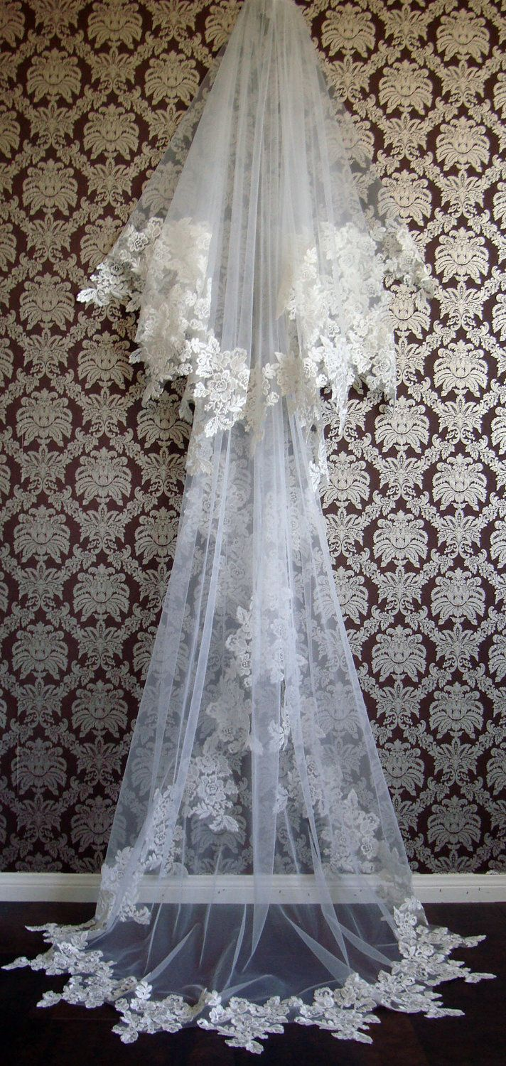 Modern Couture Two-Tier Italian Rose Lace Chapel Length Silk Veil with Blusher By IHeartBride Style Elle. $549.00, via Etsy.