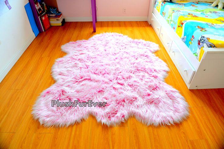 It's A Girl Rug! Baby Girl Nursery Rug Pink White Faux Fur Rug Mongolian Bedroom Area Rug Shaggy Sheep Shape Rug Nursery Gifts New by PlushFurever on Etsy