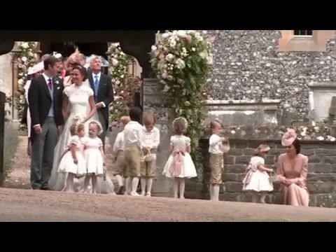 William, Harry, Catherine, George & Charlotte attend the wedding of Pipp...