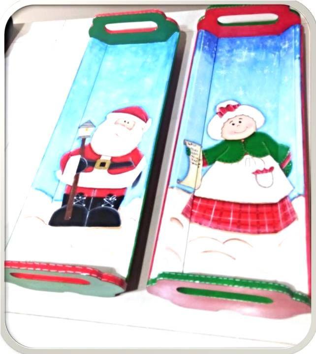 Bandejas pintadas a mano inspiracion navideña