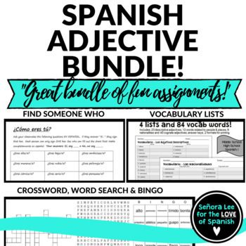 #lomejorde2017 Students will LOVE this Spanish bundle of 5 Spanish adjective activities! Includes a Spanish Adjective word search, crossword puzzle, vocabulary lists, bingo and a speaking activity. Great for reinforcing vocabulary throughout the lesson, test review or