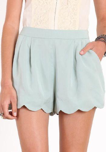 Pretty Carolina Blue Shorts: Baby Blue, Blue Shorts, Scallops Shorts, Shorts Shorts, Scallops Hemmings, Swim Trunks, Carolina Blue, Mint Green Shorts, Closet