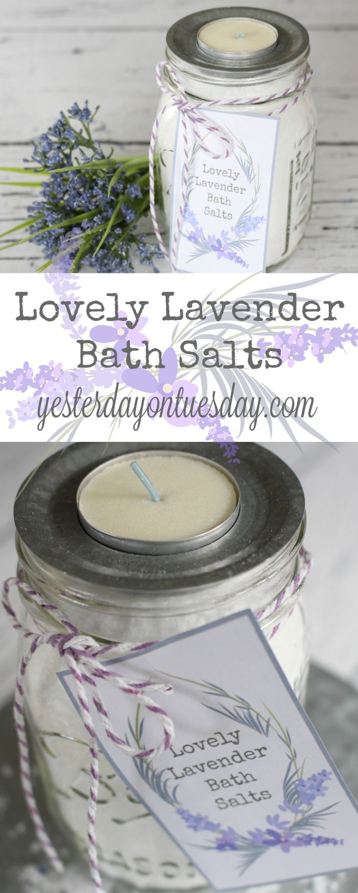 DIY Lavender Bath Salts: How to make your own lavender bath salts with free pretty printable tags for packaging them in a mason jar! Wonderful Mother's Day gift idea. bath salts | mason jars | Mother's Day | gift