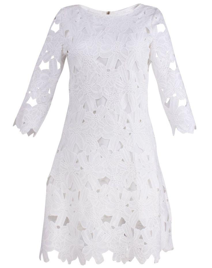 Sukienka Megan biała w kwiaty, limoda.pl