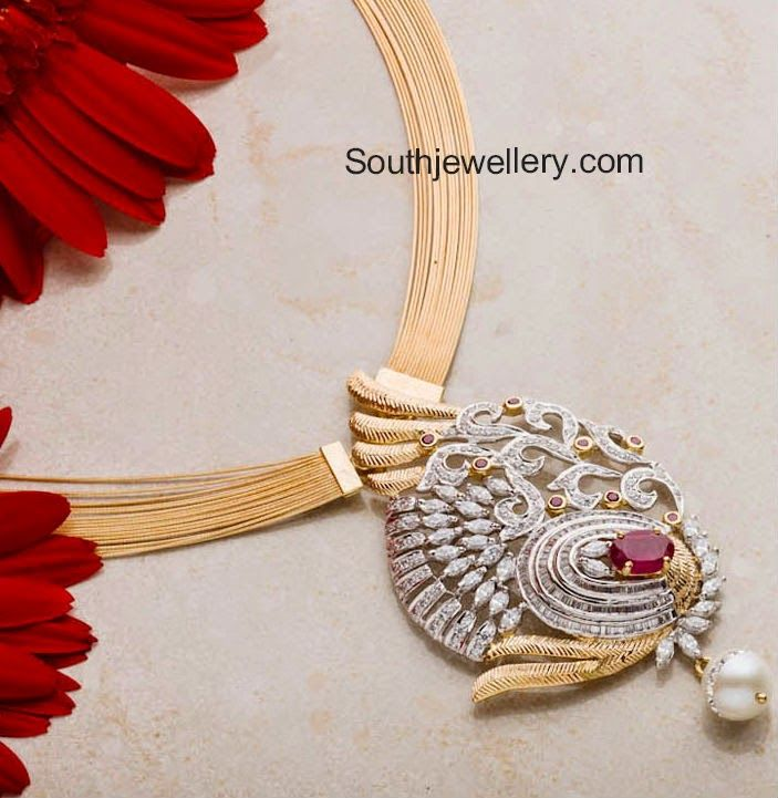 104 best pendants images on pinterest diamond pendant jewelery multi chain gold necklace with several delicate gold chains attached to a beautiful diamond pendant at its center studded with rose cut diamonds audiocablefo