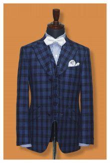 【挙式用タキシード】既製品にはなかなかないチェックスーツ、実は大人気|結婚式の新郎タキシード|新郎衣装はメンズブライダルへ