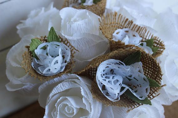 wedding bride bouquet  roses and rustic design paper flowers