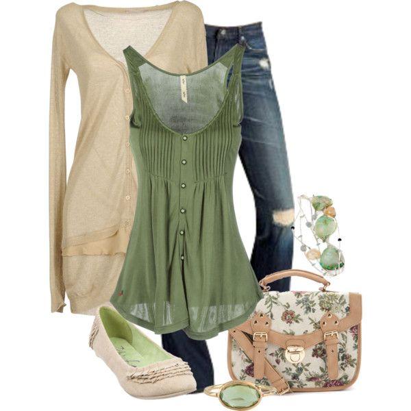 Green & Cream - Polyvore