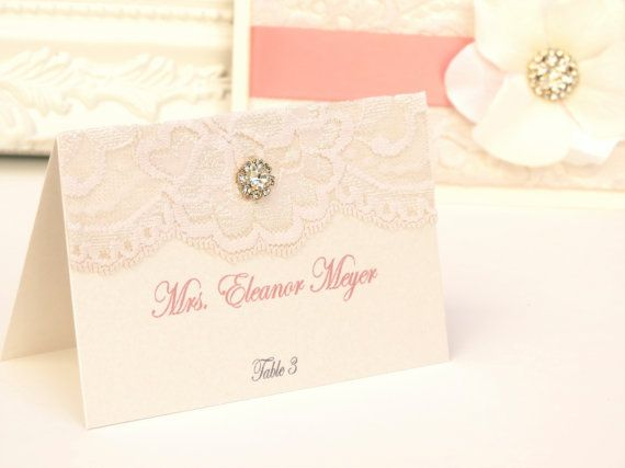 I could use some inspiration from this for my wedding invite. LACE PLACE CARDS (25) - Customizable Escort Cards - Vintage - Wedding Place Cards