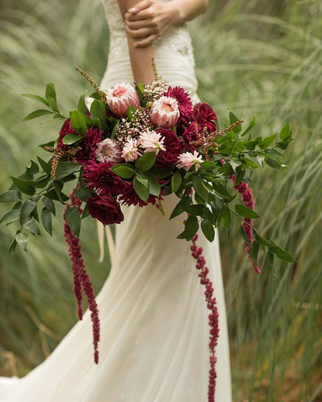 Winter Burgundy And Pink Protea Bouquet Flowers By Twig Twine Floral Artistry Auckland New Zealand Web Bridal Flowers Natural Bouquet Wedding Fern Wedding