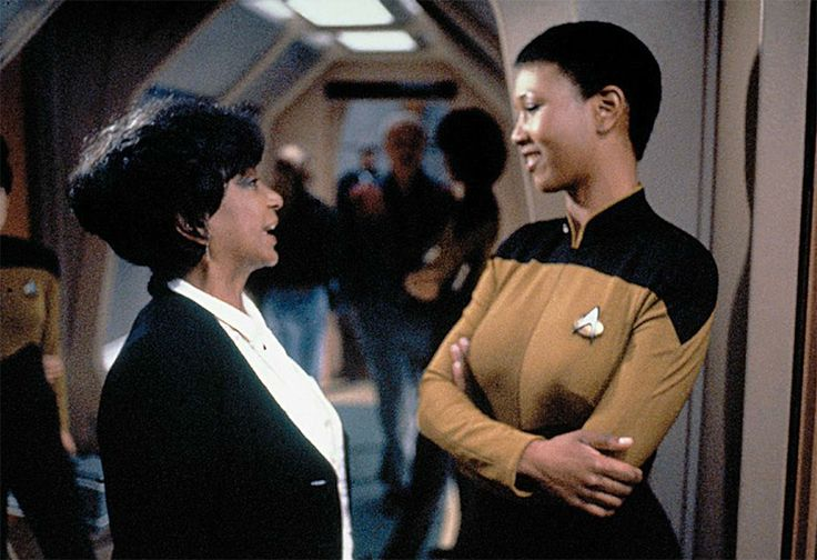 Mae Jemison was in an episode of Star Trek: The Next Generation directed by LeVar Burton, and Nichelle Nichols visited the set! So awesome. First real astronaut on Star Trek.