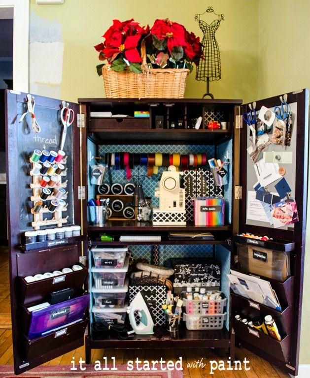 Craft Sewing Armoire - From It's Started with Paint.