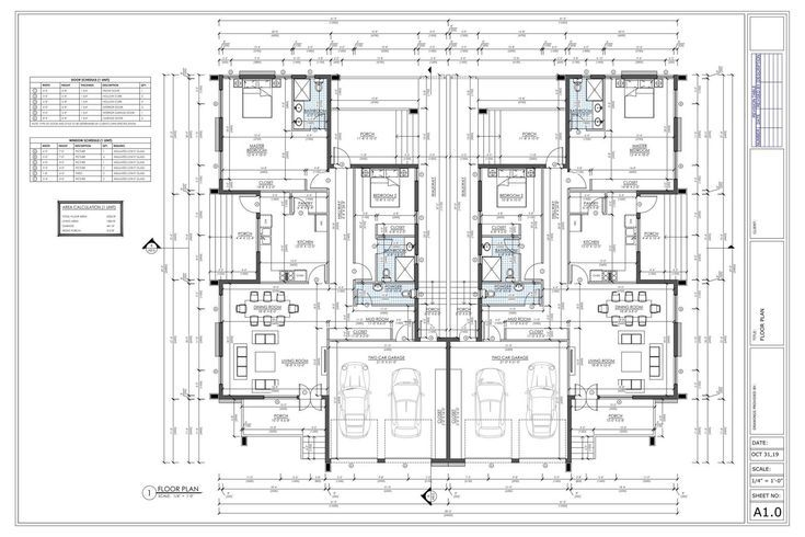 4 Bedroom Duplex House Plan Family Duplex 4 Bed Duplex Floor Plan Instant Download Dup Duplex Floor Plans Duplex House Plans Duplex House