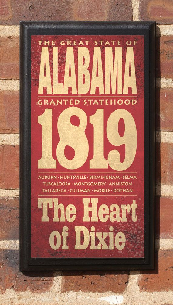 Alabama Al Wall Art Sign Plaque Gift Present Personalized Color Custom Home Decor Montgomery