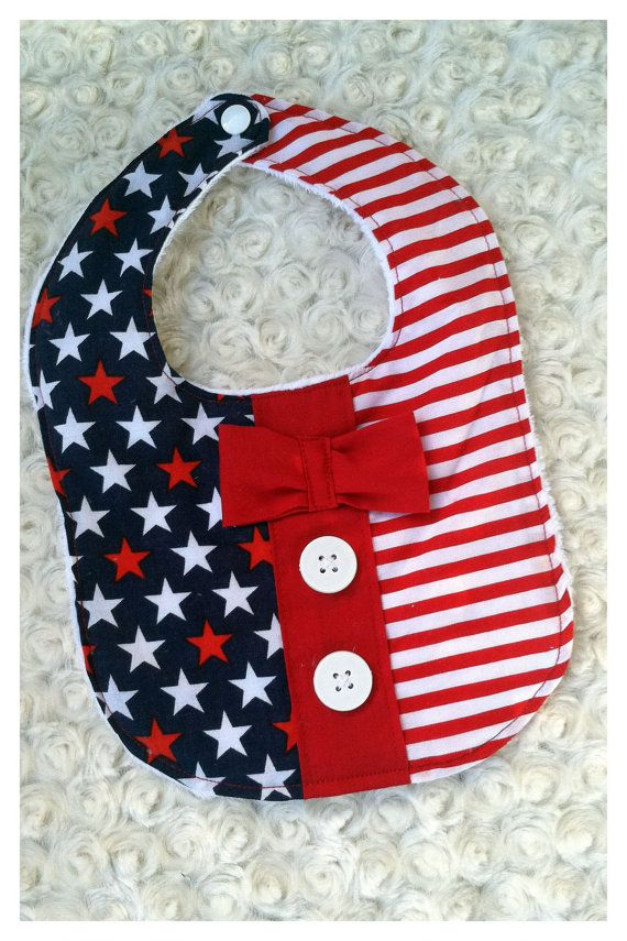 FOURTH OF JULY or Military Homecoming Baby bib. Adorable accessory to wear during a parade or welcoming home mommy and daddy while showing your America pride!