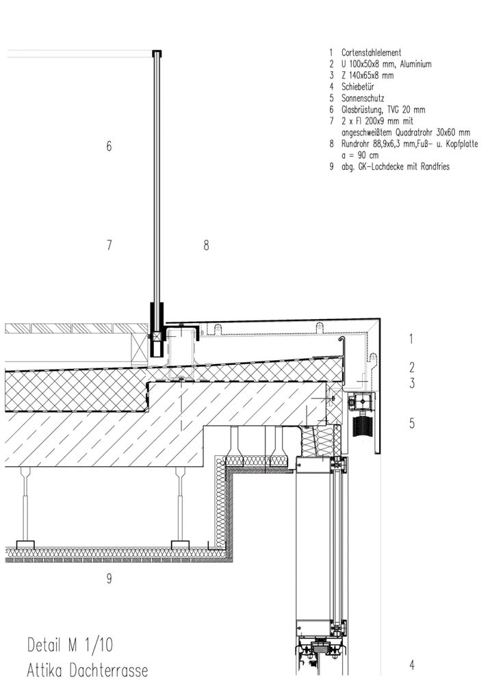 """Pape+Pape Architekten. Brückenpark Müngsten Visitors Center, Restaurant """"Haus Müngsten"""". Details roofs"""